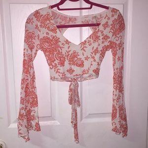 Pink Floral long sleeved crop top